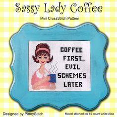 Sassy Lady Coffee Retro Cross Stitch PDF Chart by PinoyStitch, $5.00