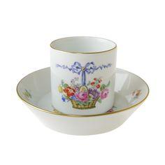 マイセン 食器 / ドイツ製 陶磁器。マイセン (Meissen)ミレニアム No.42 花かご コーヒーカップ&ソーサー【2000年/世界限定50個】
