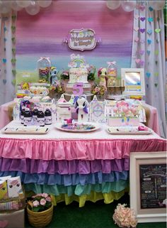 Pretty dessert table at a My Little Pony birthday party! See more party ideas at CatchMyParty.com!