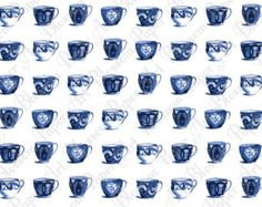 Blue Cups - Vintage Paper - Wrap Paper - Decoupage - Transfer - Printable Paper Craft - DIY Projects - 1462