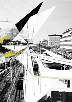 AA School of Architecture -Graham Stephen Ives Baldwin Angular Architecture, Collage Architecture, Architecture Design Concept, Architecture Board, Architecture Graphics, Architecture Visualization, Architecture Drawings, School Architecture, Landscape Architecture