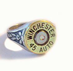 Winchester 45 Auto Bullet Ring  Gorgeous mixed metals via etsy lizzybleu