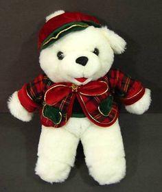 "White CHRISTMAS TEDDY BEAR Plaid Outfit 13"" Plush TB Trading Stuffed Toy B159"