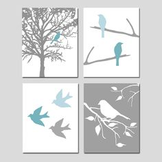 This is a collection of four playful bird silhouette prints that can be hung together in a quad format (shown) or hung separately. Whimsical, modern, and fresh. Customize in the colors of your choice. Want a different size? Just ask! This set is shown in Teal Blue/Powder Blue/Gray, Yellow/Gray, PInk/Gray, and Pink/Red/Gray, but I can do it in any colors you want! Just let me know which colors you would like in the note to seller section upon purchase. Each ...