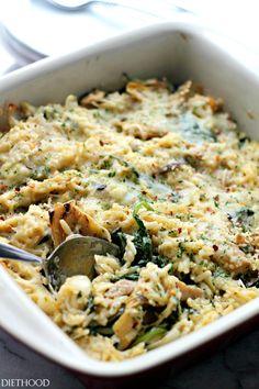 Spinach and Artichoke Pasta Alfredo Casserole made with Orzo Pasta