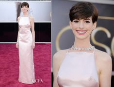 Love Anne Hathaway for her effortless beauty and style. Anne opted for Prada with this elegant pale pink gown completed with Tiffany & Co necklace - stunning Fabulous Dresses, Beautiful Dresses, Nice Dresses, Anne Hathaway Oscar, Audrey Hepburn Inspired, Tiffany And Co Necklace, Oscar Dresses, Pink Gowns, Red Carpet Looks