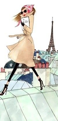 ♔This sketch is oh so fabulous! Her outfit is super chic and she's in Paris! What more could a girl want?