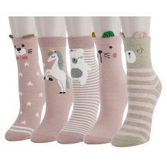 Zmart 5 Pack Women Girls Funny Cartoon Animals Cotton Crew Cute Socks