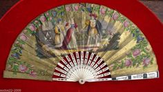 ANTIQUE IMPORTANT MOTHER OF PEARL AND PAPER  HAND FAN  Seller lists it as Victorian-i think it may be older-it recalls old Medieval illuminated books to me.It may have been painted to mimic that era.Lovely!