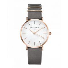 West Village Or rose montre pour femme - bracelet en cuir gris éléphant  ROSEFIELD Watches