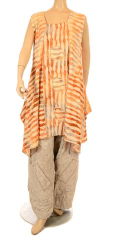 Turbulence Funkiest Orange & Grey Ripple Circle Cut Out Tunic Spring/Summer 2013