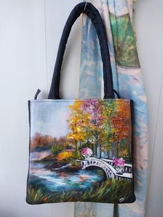 Beautiful hand drawn individually designed leather handle high quality canvas bag.