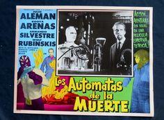 "NEUTRON ""AUTOMATAS DE LA MUERTE"" MASKED WRESTLING N MINT LOBBY CARD PHOTO 1960"