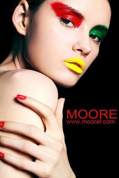 green-red-yellow-makeup-look-beauty-3