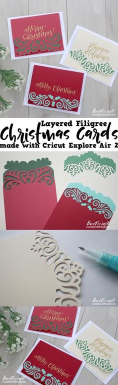Filigree Christmas Cards DIY: Cricut Explore Air 2