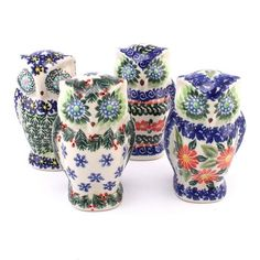 Cute ceramic owls! See more of them at http://slavicapottery.com #Polishpottery