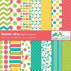Summer citrus digital papers, digital scrapbook papers, patterned scrapbook papers set comes with 14 full size paper in pink, green, turquoise and yellow.