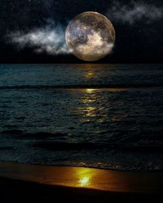 Moon over the ocean - stunning!                                                                                                                                                                                 More