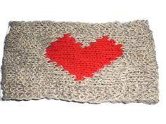 Valentine's Gift Red Heart Bandana Gray Wool Headband by KnitSew4U, $25.00