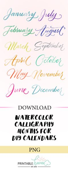 Multicolored Watercolor Calligraphy Months a. Calligraphy Fonts Alphabet, Handwriting Fonts, How To Write Calligraphy, Font Alphabet, Script Fonts, Free Calligraphy Fonts Download, How To Caligraphy, Typography, Beautiful Calligraphy
