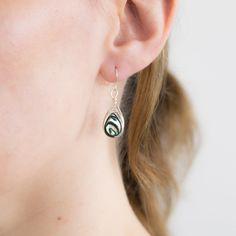 Peacock Earrings Abalone Earrings Dangle Earrings by deezignstudio