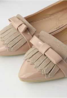 Tassels Bow Pointed Flats//