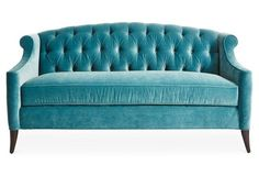 "Coco 72"" Tufted Velvet Sofa, Sea Glass"