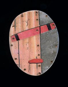 Judith Hoyt: By Oldly, Brooch in stainless steel, copper and found metals. Approx 2 1/4 x 1 3/4.