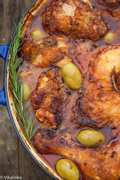Chicken Cacciatora. Cooked with a wonderful spicy tomato sauce with Rosemary and olives.