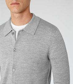 Kowloon Grey Button Lightweight Cardigan - REISS