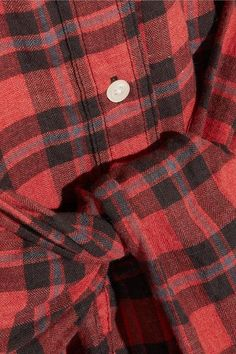 R13 - Tie-front Plaid Flannel Shirt Dress - Red - large