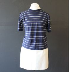 silk knit navy stripe tee s by cheapopulance on Etsy, $45.00