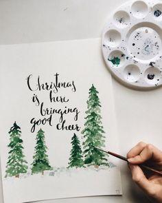 Xmas Christmas Cards – Merry Christmas & Happy New Year 2019 Quotes Watercolor Christmas Cards, Christmas Drawing, Diy Christmas Cards, Noel Christmas, Christmas Design, Xmas Cards, Winter Christmas, All Things Christmas, Christmas Crafts