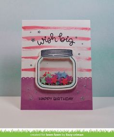 Lawn Fawn - How You Bean? + Shaker Add-on, Elphie Selfie (sentiment), Valentine Borders, Watercolor Wishes _ shaker card by Lizzy for Lawn Fawn Design Team