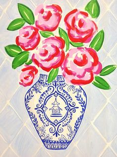 Painting of Roses in a Pagoda Vase #2 | Blue and White Ginger Jar | Chinoiserie on Etsy, $52.00