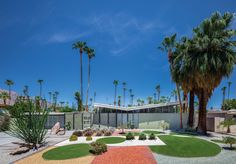 Midcentury Modern Architecture in Palm Springs, California The Menrad Residence in Twin Palms has equally modernist landscaping.