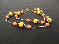 Vintage Goldtone Bar Link Hot Orange Black Plactic Bead Necklace Mod 1960's