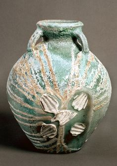 Heavily ashed jar with shell marks Svend Bayer Wood Fired Glazed Pot,. #SvendBayer