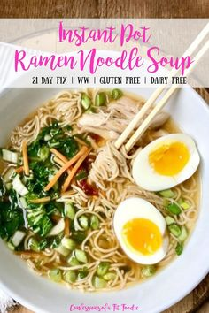 This yummy Instant Pot Ramen Noodles soup is a healthier, 21 Day Fix approved version of everyone's favorite dorm room dinner! And it's gluten-free, too, because of the brown rice noodles! Healthy Noodle Recipes, Healthy Ramen, Rice Noodle Recipes, Vegetarian Ramen, Soup Recipes, Easy Ramen Recipes, Crockpot Recipes, Clean Recipes, Healthy Cooking