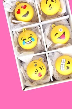 Big Ball Emoji Ornaments http://asubtlerevelry.com/big-ball-emoji-ornaments