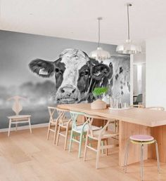 This is awful, in my opinion. The large scale of this animal on the wall makes me uncomfortable. And unless you have a personal connection to cows. Decor, Farm Style, Nature Decor, Wall Decor, Interior, Dining Table, Home Decor, Colour Schemes, Original Wall Decor