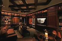 Home Theater Room Paint Color Design, Pictures, Remodel, Decor and Ideas - page 17 Media Room Design, Home Library Design, Home Theater Design, House Design, Library Ideas, Dream Library, Library Bar, Cozy Library, Library Pictures