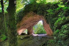 """Where the fairies live  """"Hohler Fels"""" (hollow rock) near Happburg, Germany. A very mystic place, you can easily picture fairies and dwarfs venturing around that cave."""