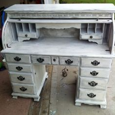 Gorgeous shabby chic roll top desk! Solid wood and heavy  $600.00