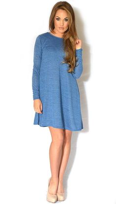 LONG SLEEVE BLUE BOW BACK DRESS #UsTrendy www.ustrendy.com