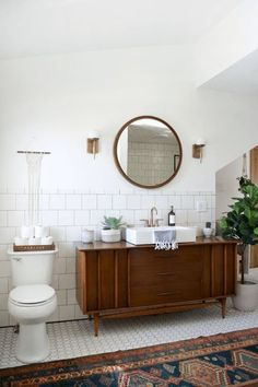 Modern Vintage Bathroom Makeover Love it! checkout www.sweetpeadeals.com for home decor up to 80% OFF! https://emfurn.com/collections/mid-century-modern
