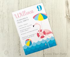 """Plan your Flamingo Pool Party with these colourful 5x7"""" Pool Party Printable invitations. Invite your guests to party in style with these pers..."""