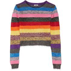 Miu Miu Cropped metallic striped stretch-knit sweater ($450) ❤ liked on Polyvore featuring tops, sweaters, jumper, miu miu, colorful crop tops, white jumper, metallic sweater, multi colored sweater and multicolor striped sweater