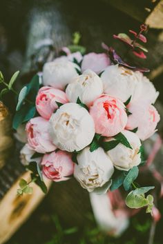 Blush and White Crepe Paper Peony Bouquet