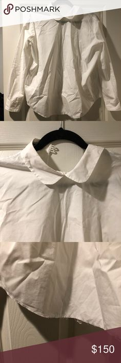 acne studios judy pop blouse size 36 (small). acne studios long sleeve poplin white collared shirt. open back. Acne Tops